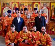 Епископ Павлодарский и Экибастузский Варнава совершил великое освящение Воскресенского храма города Аксу